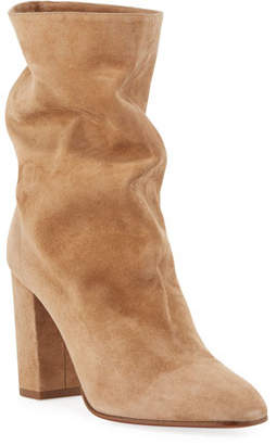 Aquazzura Booties Slouchy Scrunch Suede Booties