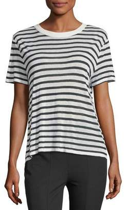 Alexander Wang Short-Sleeve Striped Slub Jersey Tee with Back Detail