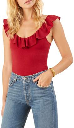 Reformation Roxanna Ruffle Neck Top