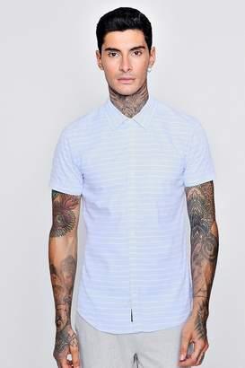 boohoo Horizontal Stripe Short Sleeve Shirt