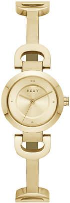 DKNY Women's City Link Gold-Tone Stainless Steel Half-Bangle Bracelet Watch 24mm
