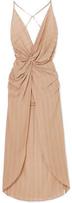 Jacquemus Bayamo Twist-front Striped Gauze Midi Dress