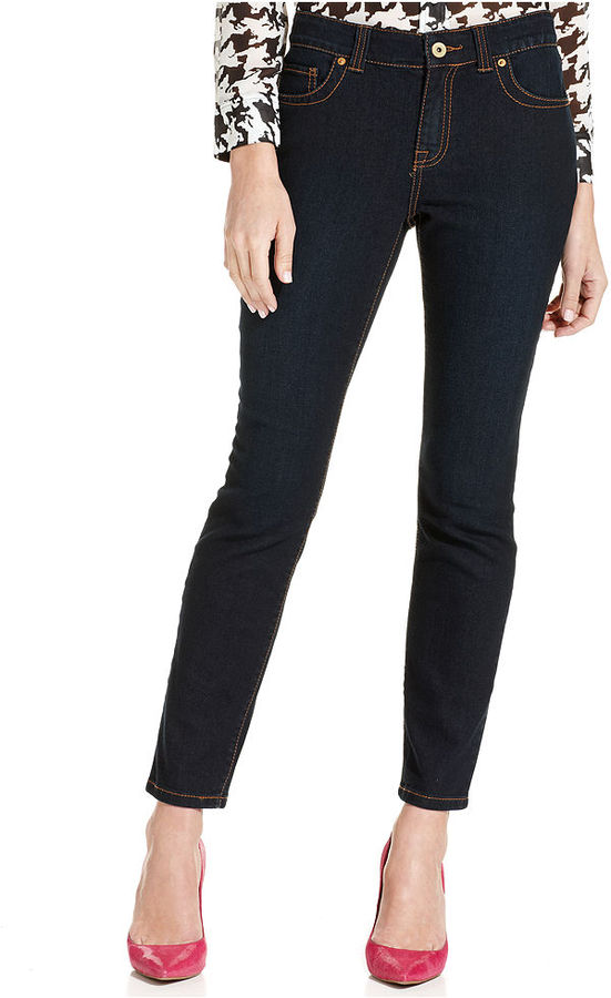 INC International Concepts Macy's Petite Jeans, Skinny Ankle-Length, Dark Rinse Wash