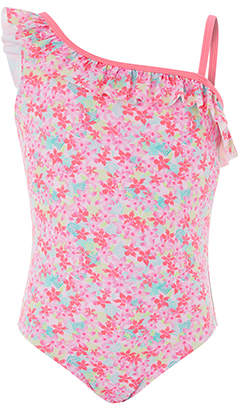 Accessorize Neon Tropical Print One Shoulder Swimsuit