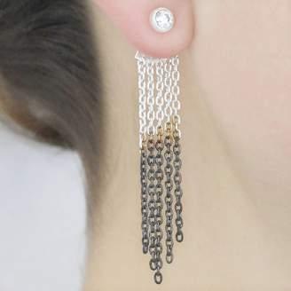 Embers Gemstone Jewellery Oxidised Silver Dipped Chain Topaz Drop Earrings