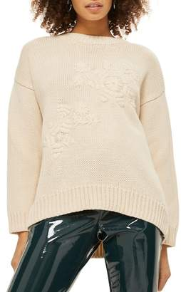 Topshop Tonal Embroidered Sweater