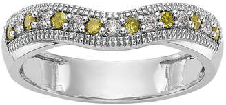 MODERN BRIDE Womens 3.5mm 1/5 CT. T.W. Genuine Multi Color Diamond 14K White Gold Curved Wedding Band