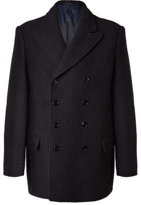 Piombo MP Massimo Pierre Double-Breasted Herringbone Wool Coat