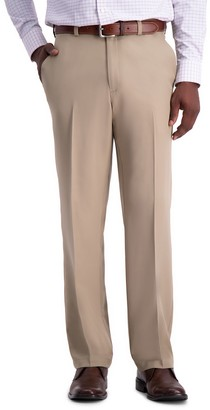 Haggar Men's Cool 18 PRO Classic-Fit Wrinkle-Free Flat-Front Expandable Waist Pants