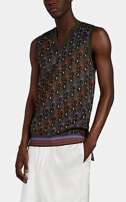 Wales Bonner Men's Floral Jacquard Cotton-Blend Sweater Vest - Olive