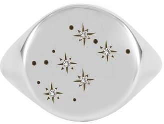 No 13 - Aquarius Constellation Signet Ring Diamonds & Oxidized Silver
