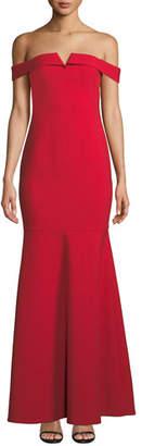 LIKELY Misisco Off-the-Shoulder Trumpet Gown w/ Godet Hem
