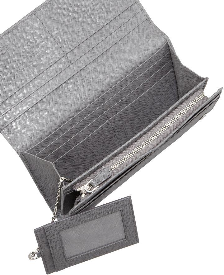 Prada Saffiano Fold-Over Wallet, Gray (Marmo)