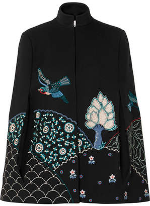 Vilshenko Embroidered Twill Cape - Black