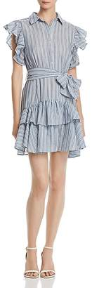Aqua Ruffled Striped Shirt Dress - 100% Exclusive