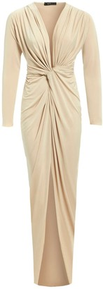 Sarvin Bianca Nude Plunge Front Knot Maxi Dress