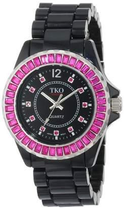 TKO ORLOGI Women's TK608-BFS Ceramix-Ice Black Acrylic Pink Crystals Watch
