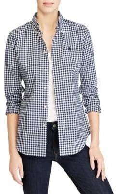 Polo Ralph Lauren Slim-Fit Gingham Poplin Cotton Button-Down Shirt