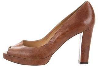 Bettye Muller Leather Peep-Toe Pumps