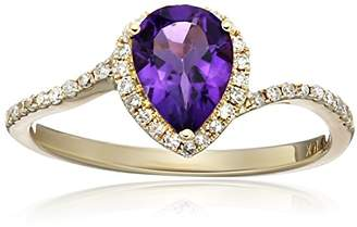 10k Yellow Gold African Amethyst and Diamond Princess Diana Pear Shape Engagement Ring (1/5cttw