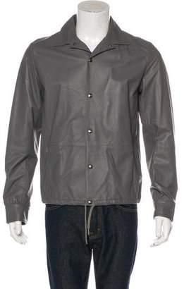 Herno Leather Button-Up Jacket
