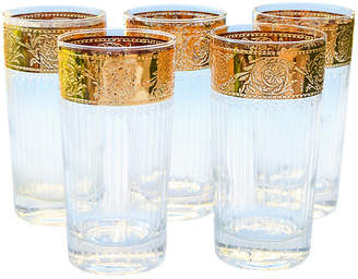 One Kings Lane Vintage Midcentury Gold Pattern Highballs - Set of 5 - The Moroccan Room