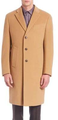 Armani Collezioni Long-Sleeve Wool-Cashmere Coat