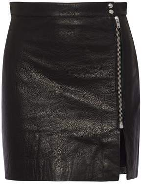 IRO + Anja Rubik Patti Textured-Leather Mini Skirt