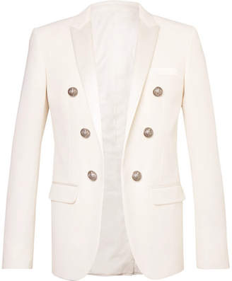 Balmain Slim-Fit Double-Breasted Satin-Trimmed Wool-Twill Blazer - Men - White
