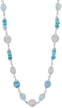 "Judith Ripka Verona Sterling Silver Milky Aqua 36"" Necklace"