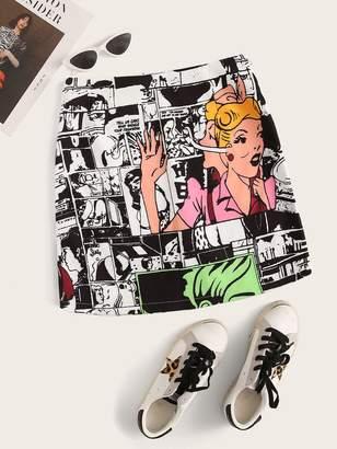 Shein Comic Print Zip Side Pencil Skirt