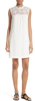 Women's Theory Aronella Elevate Crepe & Lace Shift Dress $395 thestylecure.com