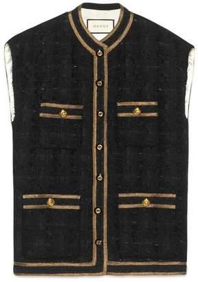 Gucci Tweed sleeveless vest with decorative trim