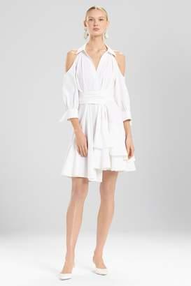 Natori Josie Cotton Poplin Cold Shoulder Dress