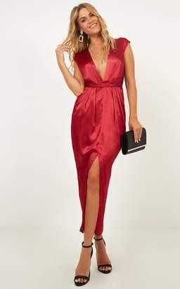 Showpo Dream Simply Dress in wine satin Dresses