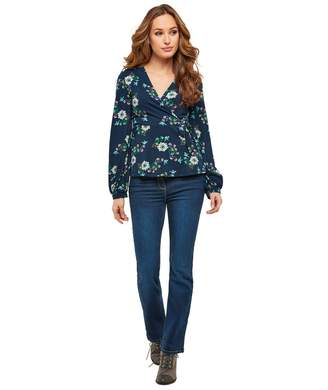 Joe Browns Long-Sleeved Floral Wrap T-Shirt