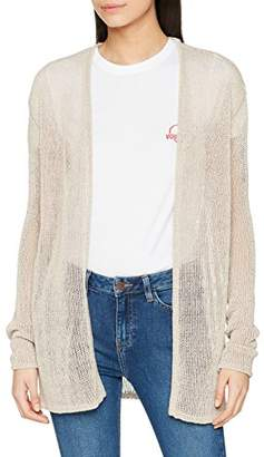 Vero Moda Women's Vmrylia Ls Open Cardigan, White (Oatmeal Detail:w. Silver Lurex), (Size: Medium)