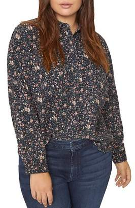 Sanctuary Curve Floral-Print Collared Top