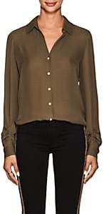 L'Agence Women's Fiona Silk Blouse - Olive