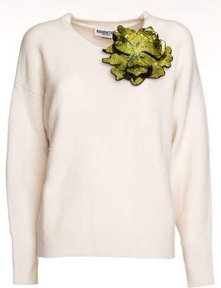 Essentiel Antwerp Oversized Wool Blend Sweater Flower Brooch