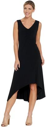 Halston H By H by Petite Jet Set Jersey V-Neck Hi-Low Dress