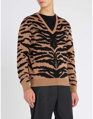 Alexander McQueen Zebra-print waffle-knit wool jumper