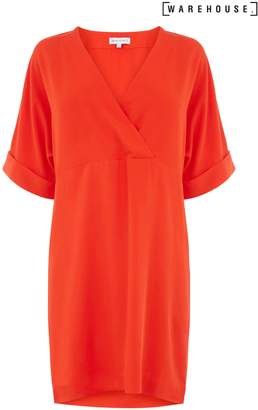 Next Womens Warehouse Red Wrap Tencel Shift Dress