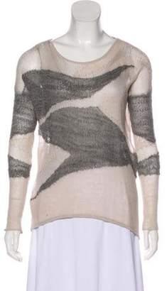 Helmut Lang Wool & Silk-Blend Knit Sweater Grey Wool & Silk-Blend Knit Sweater