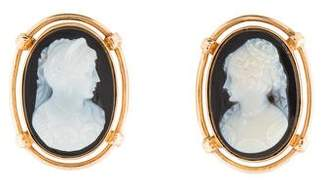 14K Black Onyx Chalcedony Cameo Earrings