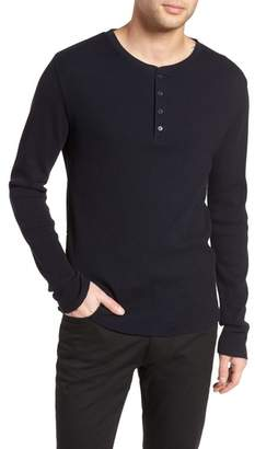 Vince Thermal Knit Long Sleeve Henley T-Shirt