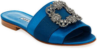 Manolo Blahnik Martamod Crystal-Buckle Slide Sandal