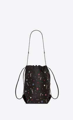 Saint Laurent Teddy Bucket Bag In Leather And Charms
