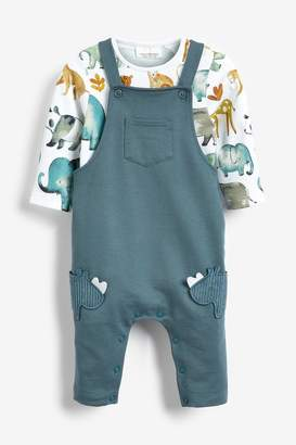 Next Boys Teal Rhino Dungarees And Bodysuit Set (0mths-2yrs) - Green