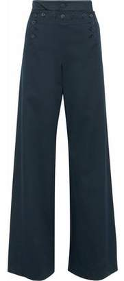 RED Valentino Button-Detailed Stretch-Cotton Twill Wide-Leg Pants